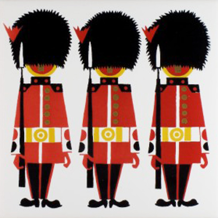 vintage Kenneth Townsend designed ceramic tile of Coldstream guardsmen