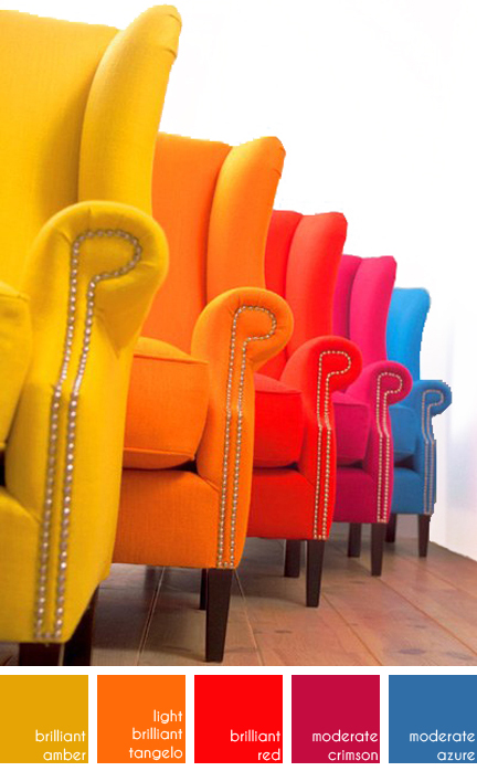 set of 5 wingback armchairs in rainbow colours upholstered in fabric from the Unique by Chivasso collection