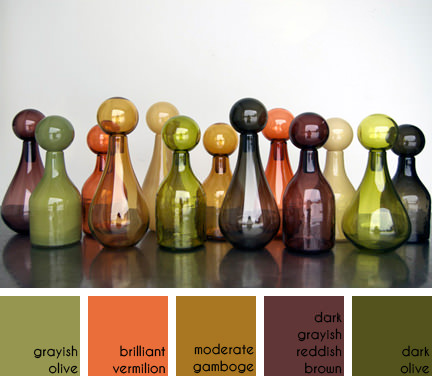 collection of coloured glass jars with stoppers designed & made by Elizabeth Lyons