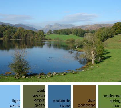Loughrigg Tarn looking towards the Langdale Pikes, Lake District National Park, Cumbria