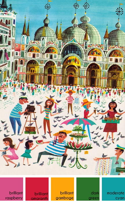 illustration of Piazza San Marco by Richard Erdoes from his book 'Peddlers and Vendors Around the World'