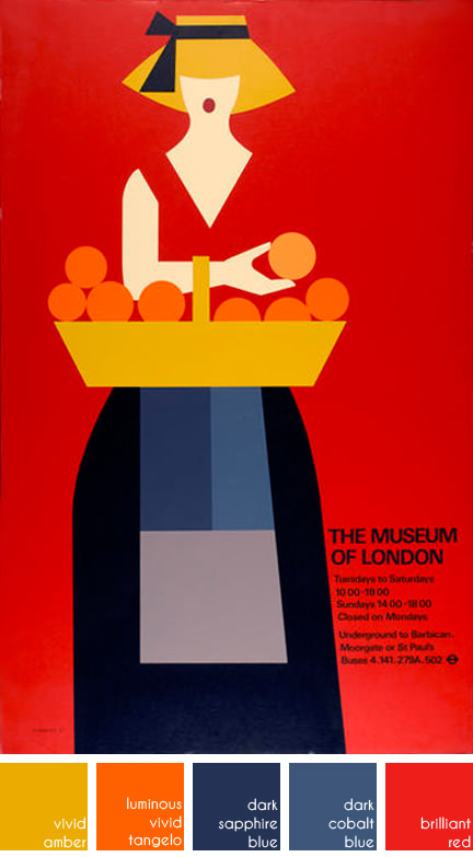 Museum of London poster depicting a woman with basket of oranges. Designed by Tom Eckersley in 1977