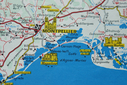 detail of a vintage travel map showing the area of Montpellier