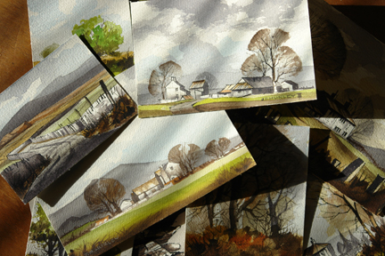 collection of small watercolour paintings by J A Hurley