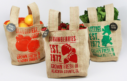 Market Grown burlap bags designed by Catalina Rozo & Melissa Clinard