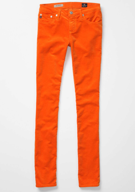 bright orange corduroy jeans from Anthropologie