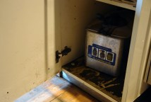 The flood water entered our floor-standing kitchen cabinets and filled up a deep fat fryer that we stored in there