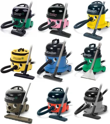 Collection of different models of Numatic vacuum cleaners