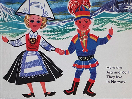 Asa and Karl, Norway national dolls from World Dolls Series 'Norway' vintage children's book