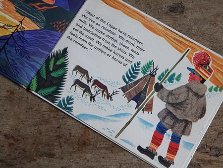 Lapp and teepee in World Dolls Series 'Norway' vintage children's book