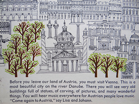 Illustration of Vienna from the 'Austria' book from the World Dolls Series