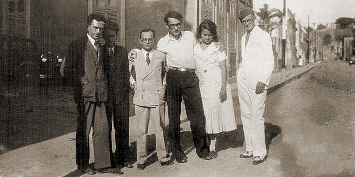 Da esquerda para direita Graciliano Ramos, Aluísio Branco, Théo Brandão, José Auto, Rachel de Queiroz e Valdemar Cavalcanti