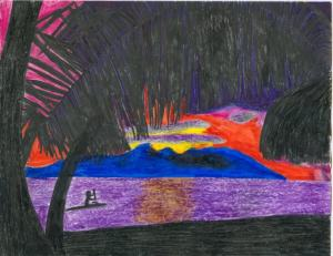 Tahitian inspired drawing created by J Hanna.