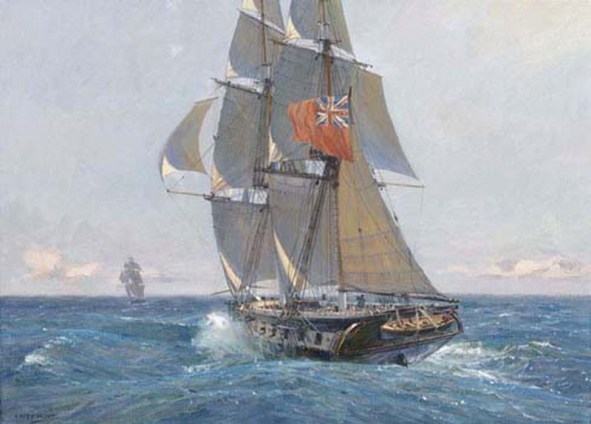 The HMS Sophie gives chase to a privateer