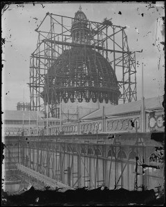 Photo courtesy of State Records NSW - Construction of the Garden Palace [NRS 4481 SH1168] On September 22nd 1882 the Garden Palace fire occurred. The Garden Palace was built in only eight months to house the Sydney International Exhibition in 1879 in the southwestern end of the Royal Botanic Gardens. At the time of the fire a number of government departments housed records in the Palace so that when fire completely engulfed the timber building a number of significant documents, such as the 1881 Census, were destroyed.