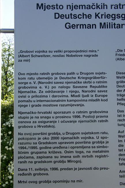 Njemacko groblje tabla Mirogoj