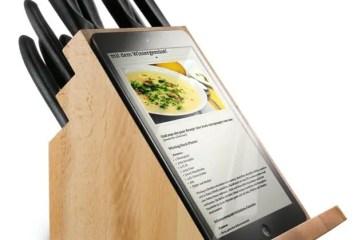 tablet holding knife block