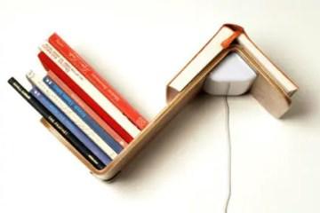 lighting fixture, shelf and bookmark