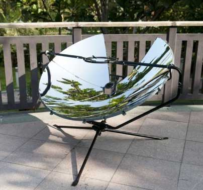 SolSource is a powerful parabolic solar cooker that harnesses the energy of the sun for outdoor cooking.