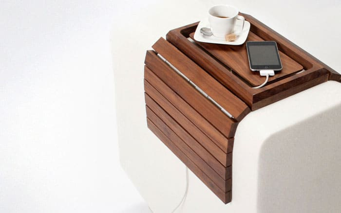 Embrace couch table and charging station