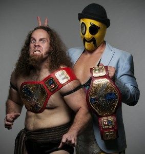 Hobo (R) finally got Jervis Cottonbelly (L) to conquer his fear of the top rope. Can The Friendship Express be stopped now?