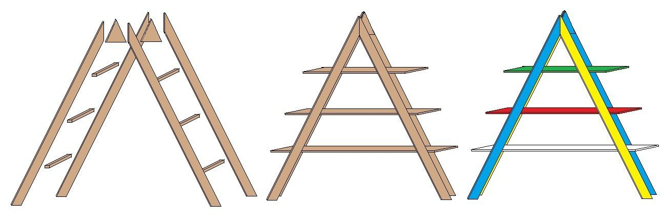 Anleitung ein buntes leiterregal bauen anleitungen und for Leiterregal holz