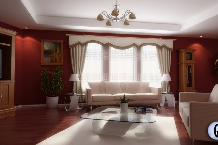 red and white living room design