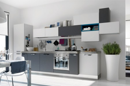 open, modern kitchens with few pops of color