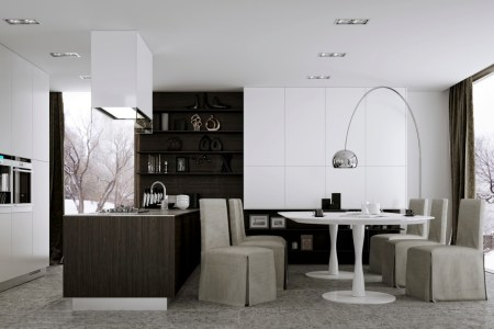 modern kitchen with eat in dining