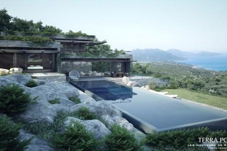 modern mountain ocean view villa with pool