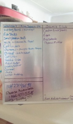 grocery list on whiteboard