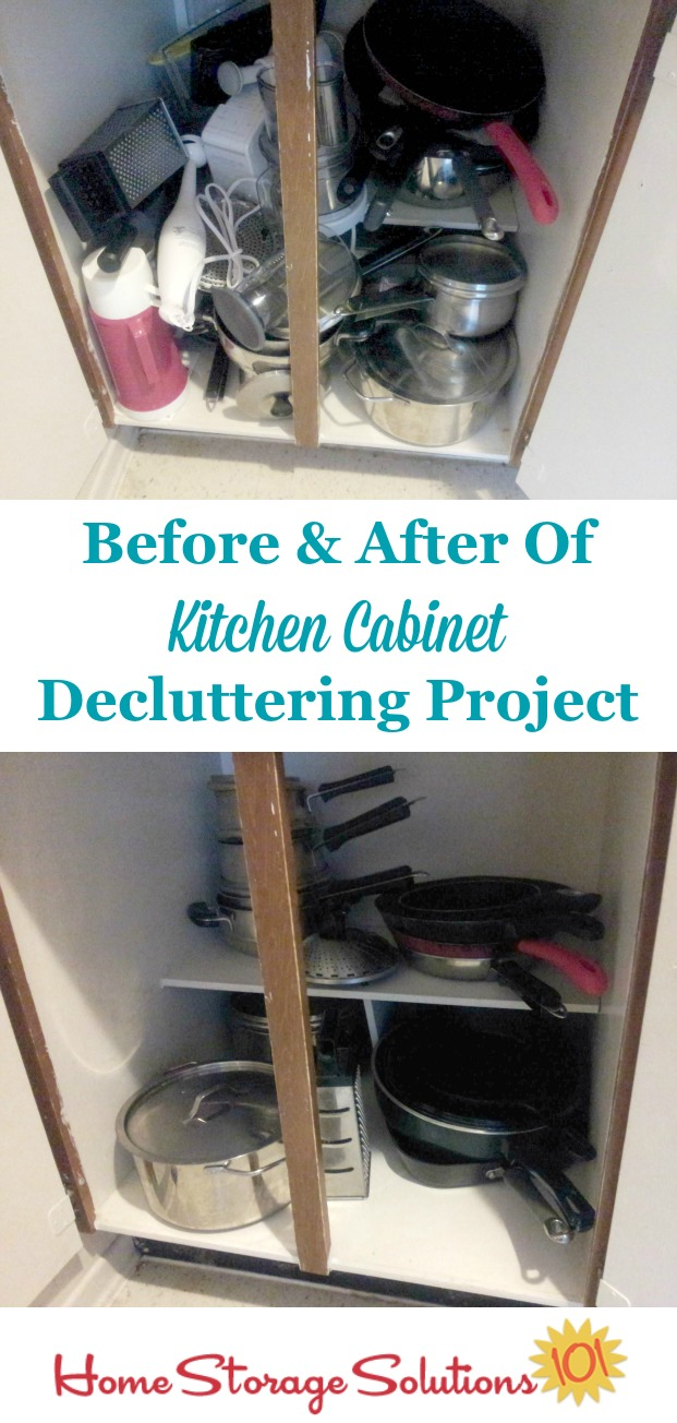 declutter kitchen cabinets kitchen cabinet Before and after of decluttered kitchen cabinets from a participant in the Declutter missions
