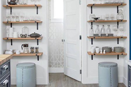 kitchen storage. create more storage space in your kitchen by adding open shelving on an empty wall. kitchen storage solutions. small kitchen storage. small kitchen storage ideas. kitchenstorage