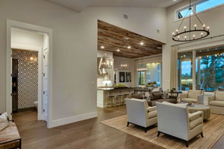 main floor plan ideas for new home. foyer opens to a large living room which opens to a kitchen with wood plank ceiling. powder room off the living room. floorplan geschke group architecture.
