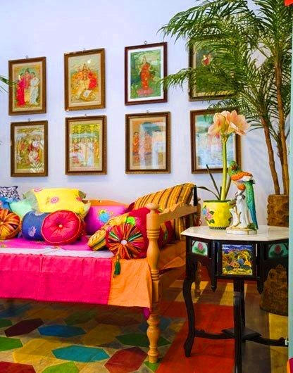 Traditional Indian Home with gallery wall