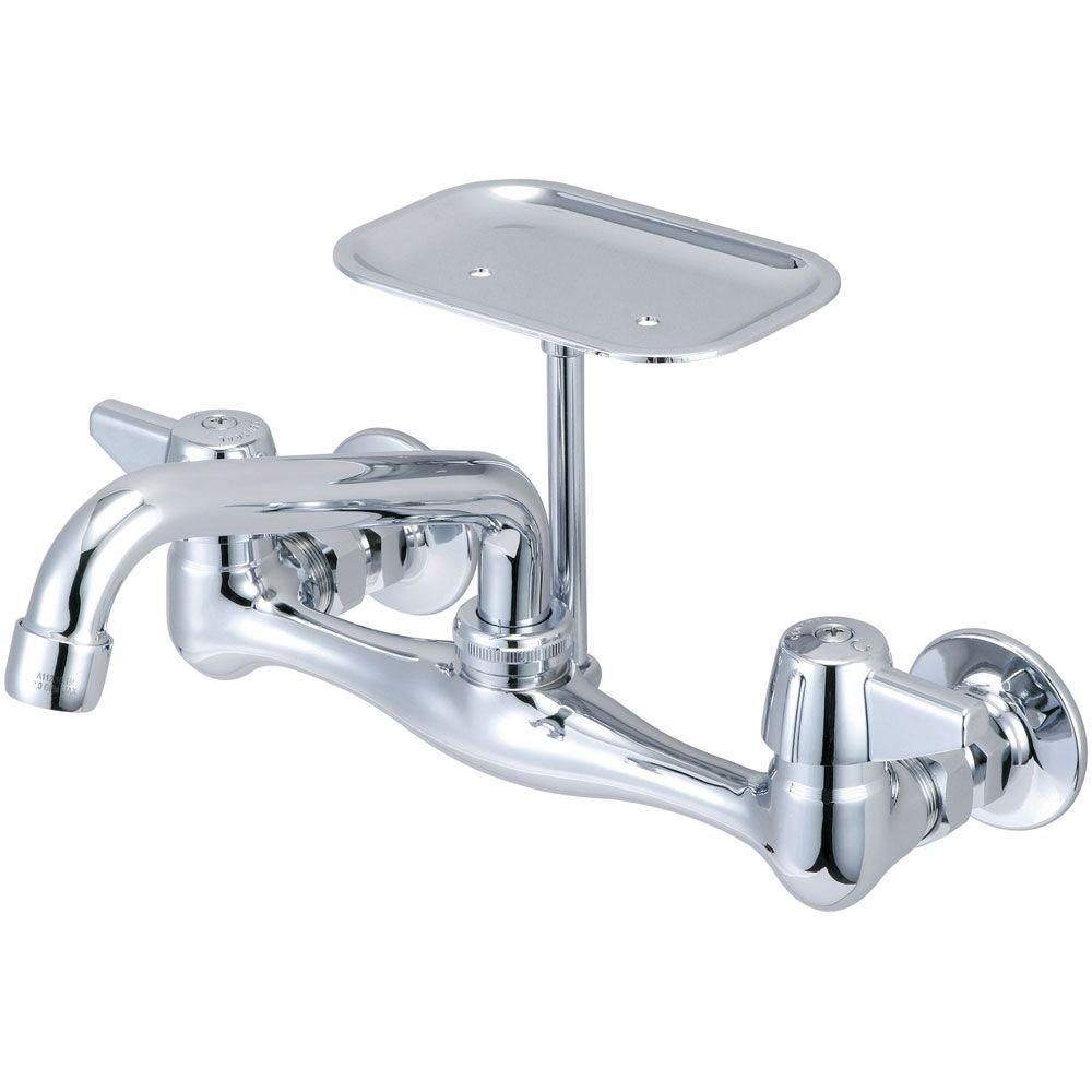 wall mount kitchen faucet Central Brass 2 Handle Kitchen Faucet On 8 in Centers in PVD Polished