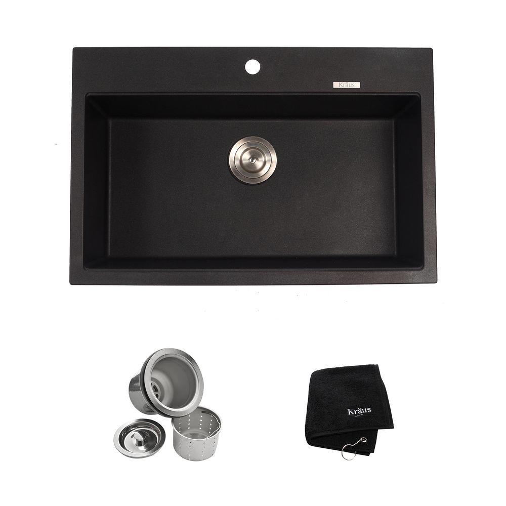 kitchen sink kit Single Basin Kitchen Sink Kit in Black Onyx