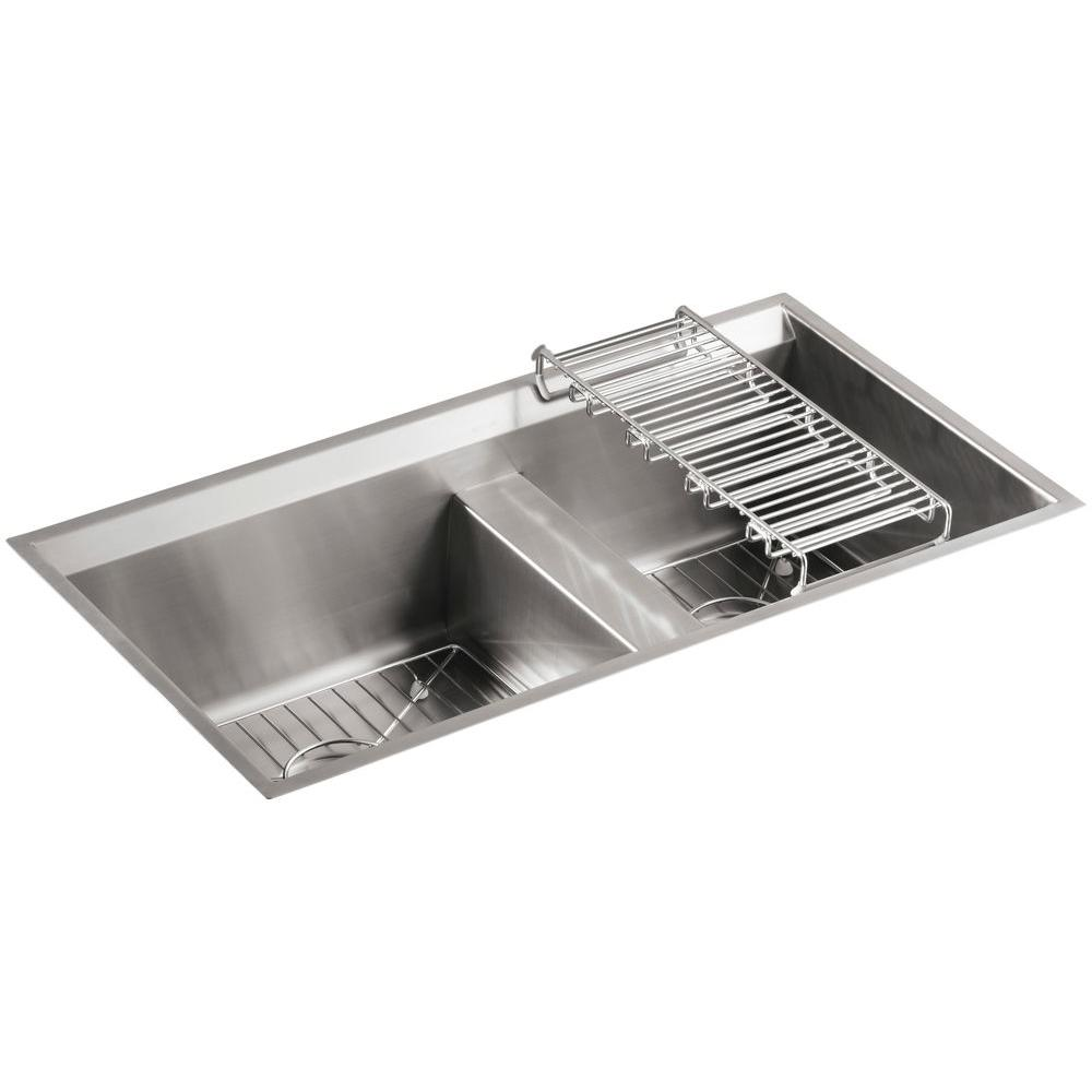kitchen sink kit 8 Degree Undermount Stainless Steel 33 in Double Basin Kitchen Sink