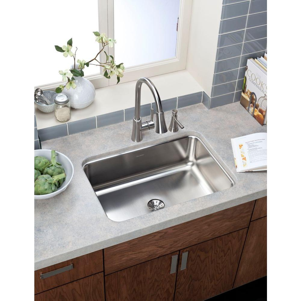 single bowl kitchen sink Elkay Innermost Perfect Drain Dual Mount Stainless Steel 27 in 4 Hole Single Bowl Kitchen Sink HD The Home Depot