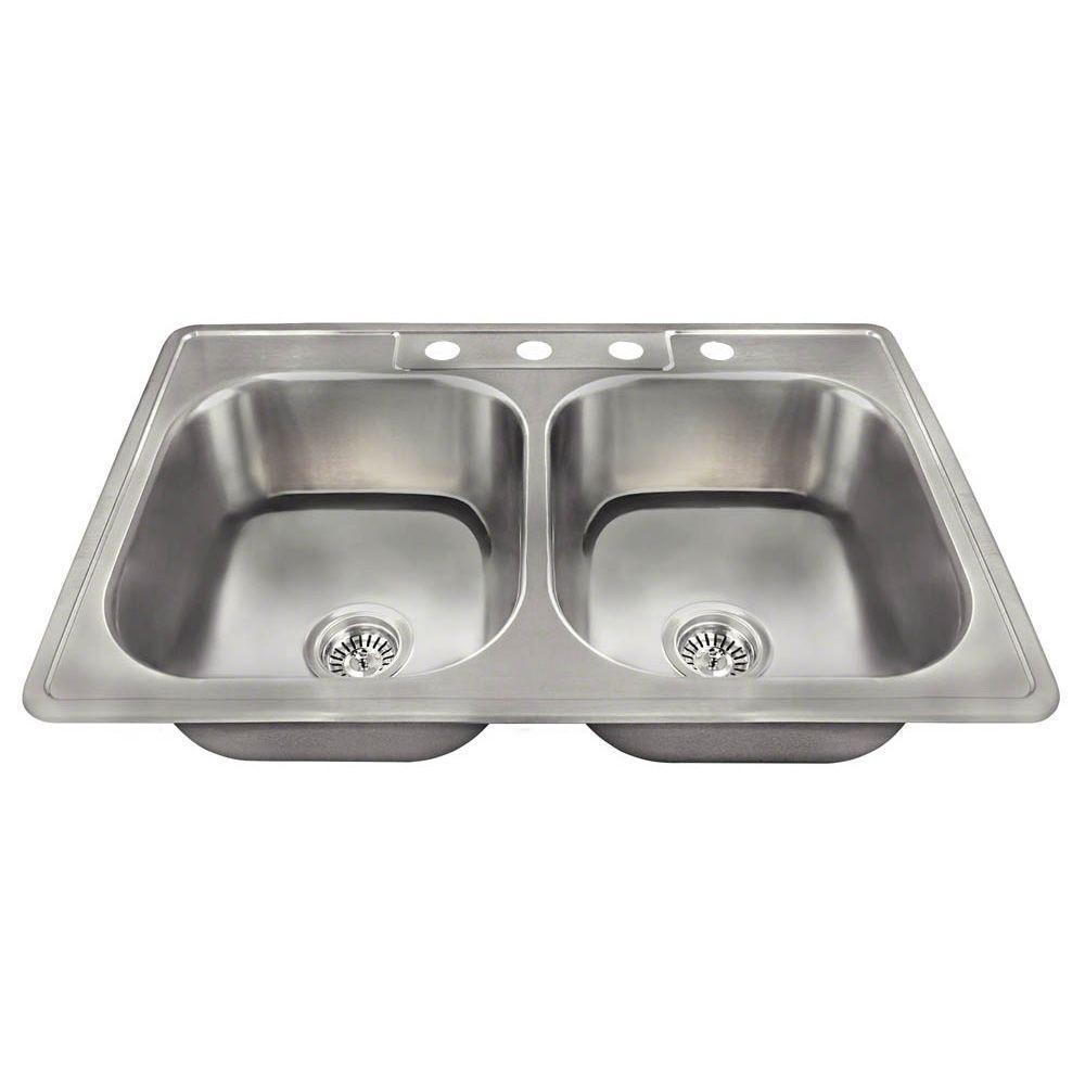 N vZarsa small kitchen sinks All in One Drop In Stainless Steel 33 in 4 Hole