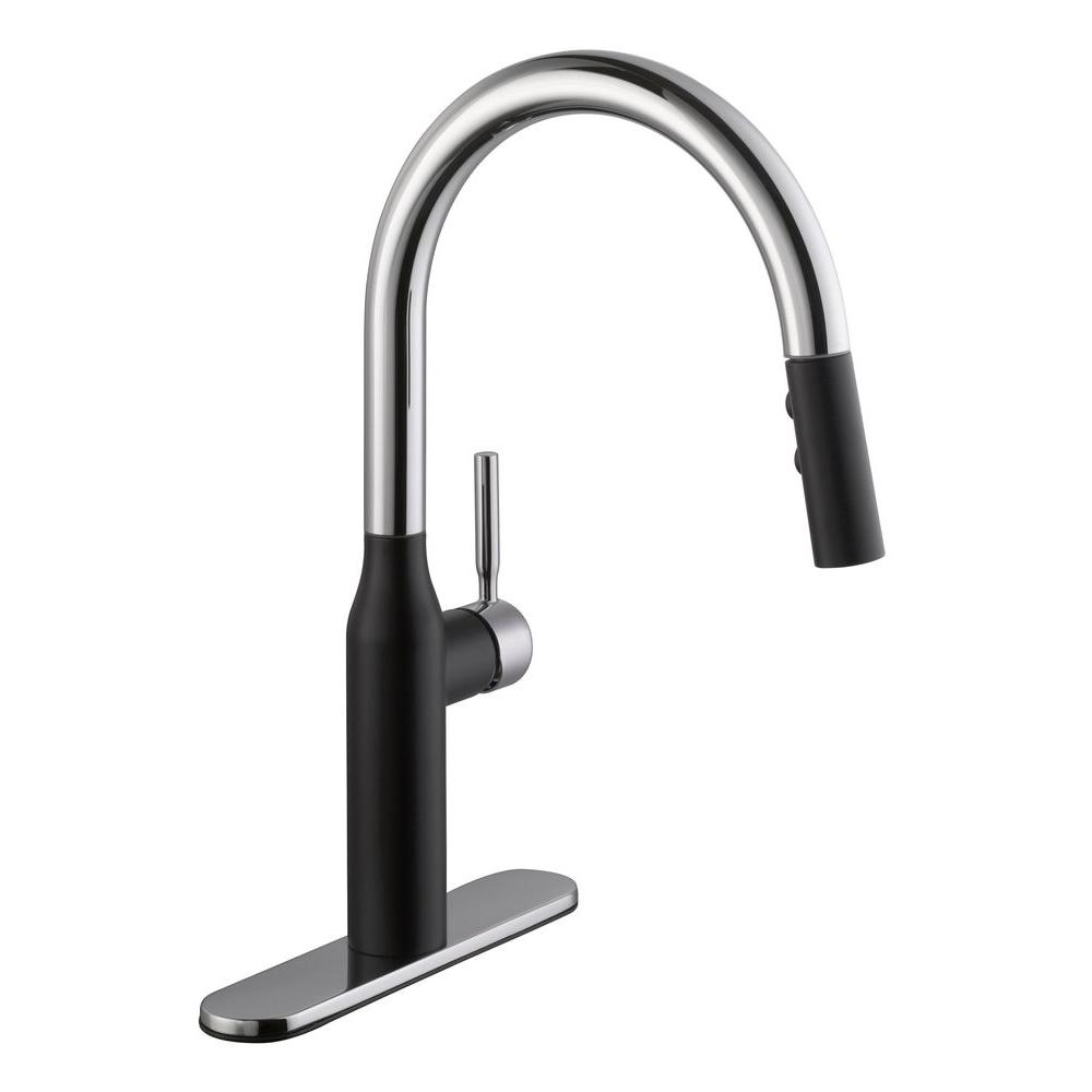 N qk black kitchen faucet Contemporary Single Handle Pull Down Sprayer Kitchen Faucet in Chrome and Black