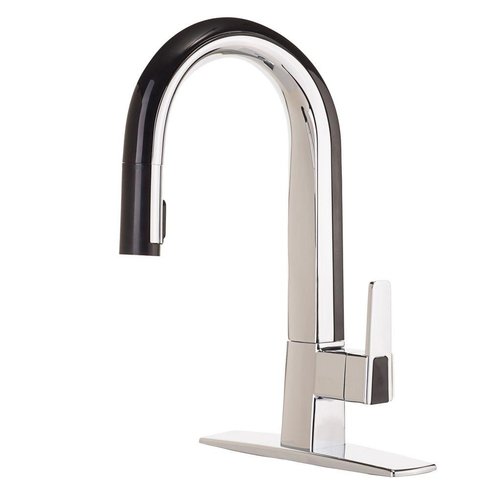 N i black kitchen faucet Matisse Single Handle Pull Down Sprayer Kitchen Faucet in Chrome and Black