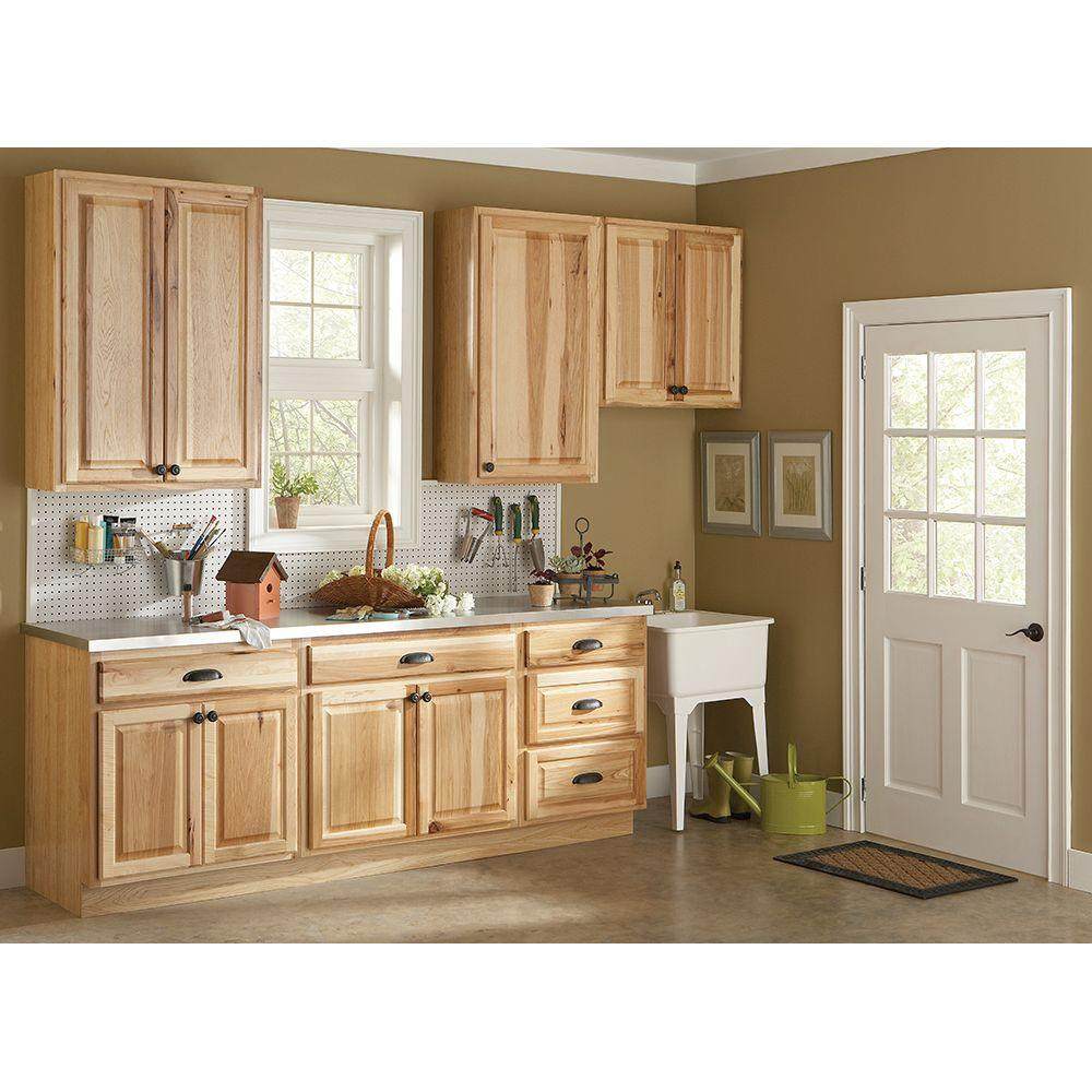 kitchen cabinets home depot Hampton Bay Hampton Assembled in Wall Kitchen Cabinet in Natural Hickory KW NHK at The Home Depot Mobile