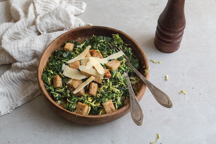 Kale & Brussels Caesar Salad | HOMEGROWN KITCHEN