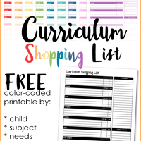Homeschool Curriculum Shopping List Printable