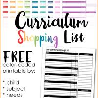 Homeschool Curriculum Shopping List Printable