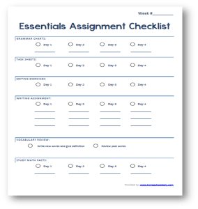 essentials checklist picture