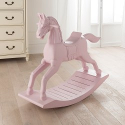 Peaceably Toddlers Wooden Rocking Horse India Small Pink Wooden Rocking Horse Small Pink Wooden Rocking Horse French Style Accessories Wooden Rocking Horse