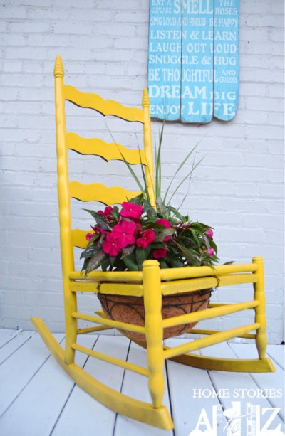 Container gardening idea in a rocking chair