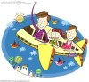 Family travelling in aeroplane